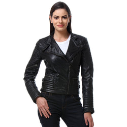 Bareskin Black Color Classic Biker Jacket In Lamb Uno Leather For Women .