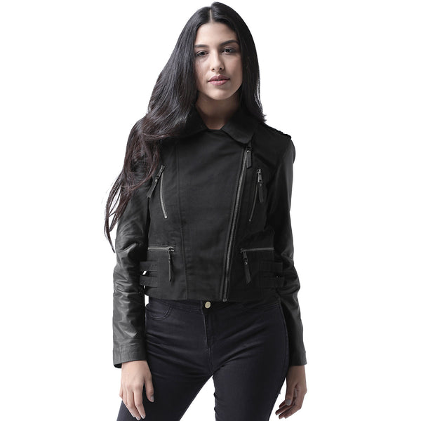 Bareskin Black Leather & Denier Combination Stylish Ladies Jacket