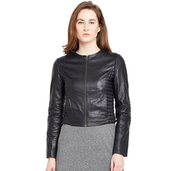Bareskin Black Slim-Fit Leather Jacket For Women