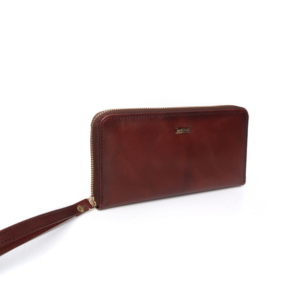 Women's Dark Brown Soft Leather Multi-Utility Hand Wallet By Brune