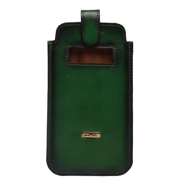 Green Leather Pull Up Strap Mobile Cover by Brune & Bareskin