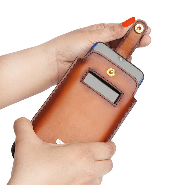 Tan Leather Pull Up Strap Mobile Cover by Brune & Bareskin