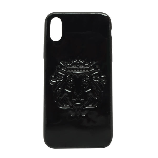 Black Patent Leather Lion Embossed Mobile Cover by BARESKIN