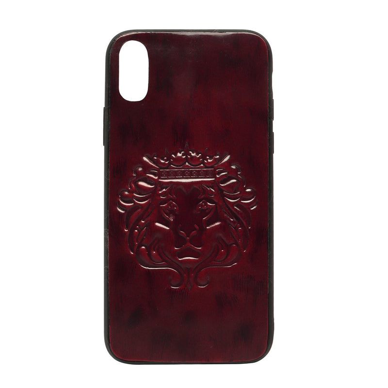 Wine Patent Leather Lion Embossed Mobile Cover by BARESKIN