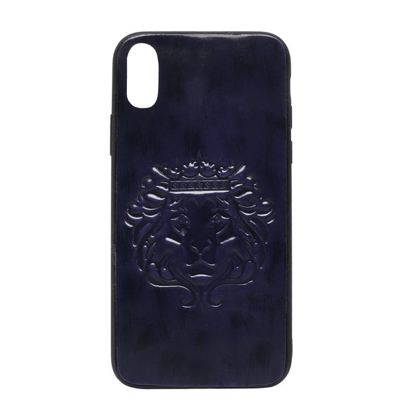 Blue Patent Leather Lion Embossed Mobile Cover by BARESKIN