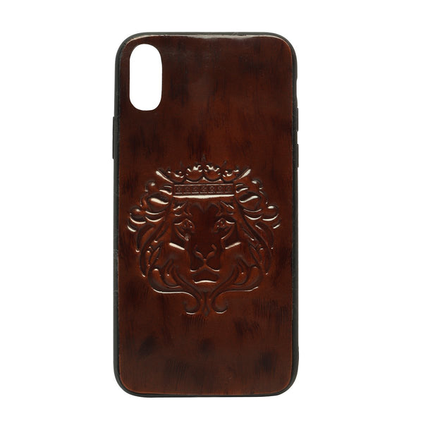 Tan Patent Leather Lion Embossed Mobile Cover by BARESKIN