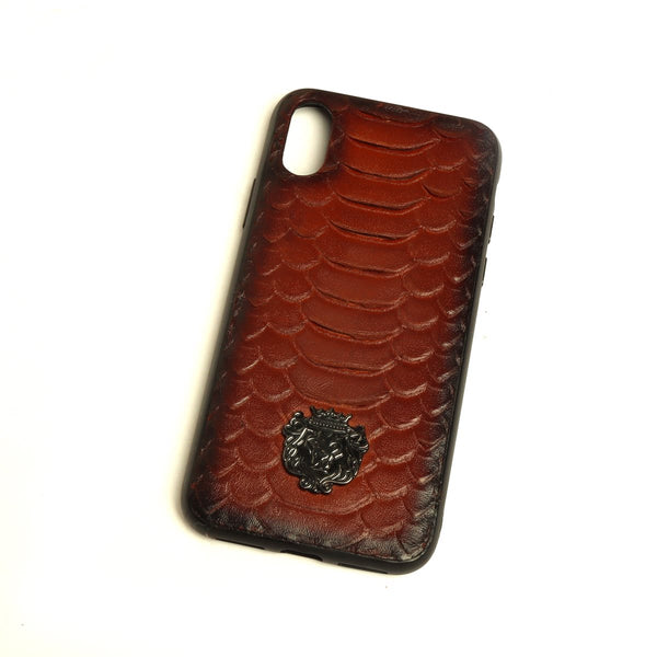 BROWN SNAKE SCALE TEXTURED LEATHER MOBILE COVER BY BARESKIN
