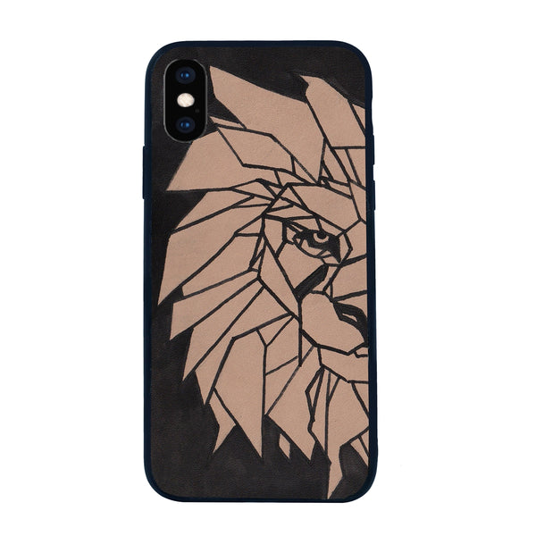 Hand Painted Lion Leather Mobile Cover by BARESKIN