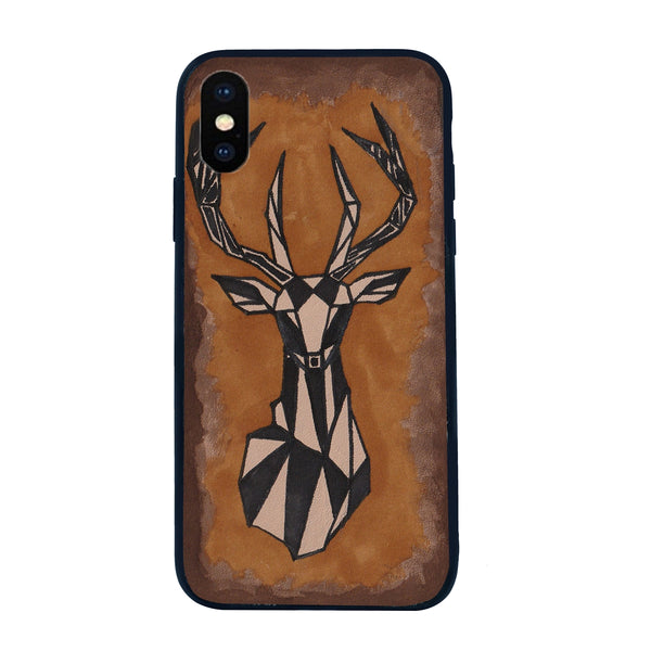 Hand Painted Deer Leather Mobile Cover by BARESKIN