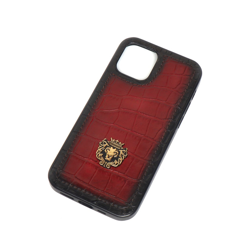 Wine Croco Print Leather Mobile Cover by Brune & Bareskin