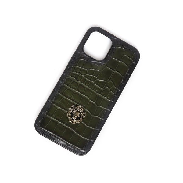 Green Croco Print Leather Mobile Cover by Brune & Bareskin