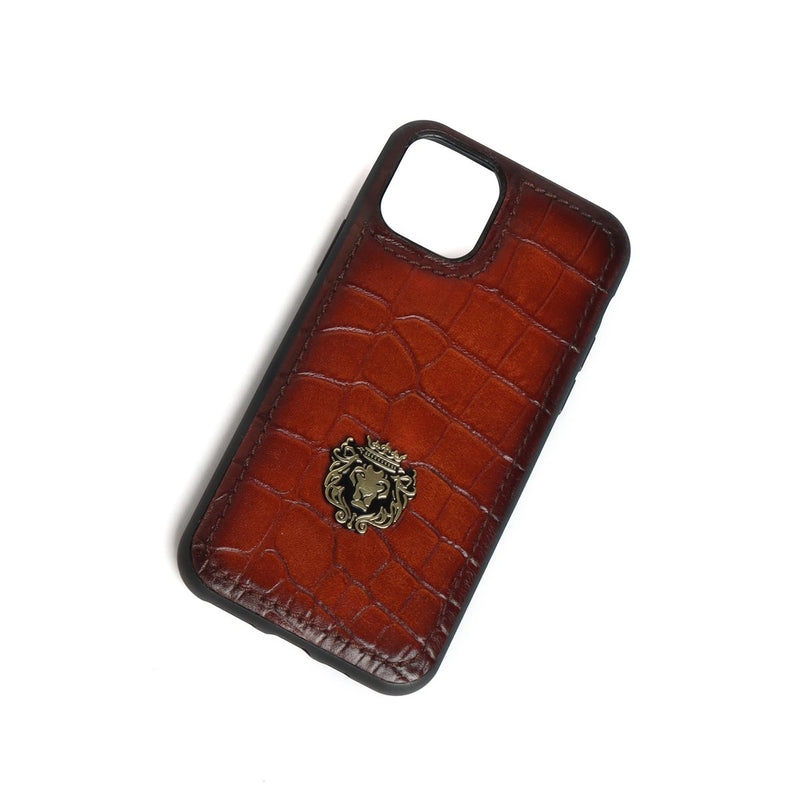 Tan Croco Print Leather Mobile Cover by Brune & Bareskin