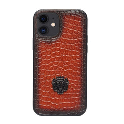 Tan Small Croco Print Leather Mobile Cover by Brune & Bareskin
