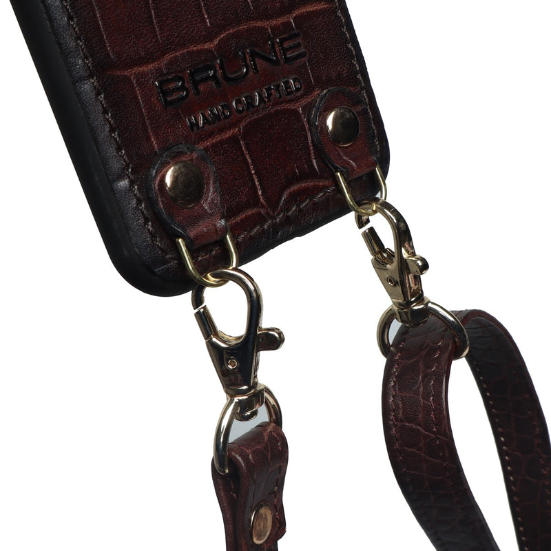 Brown Croco Textured Leather Adjustable Strap Mobile Cover by Brune & Bareskin