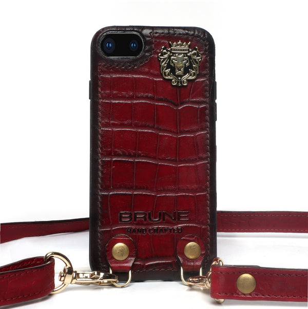 Wine Croco Textured Leather Adjustable Strap Mobile Cover by Brune & Bareskin