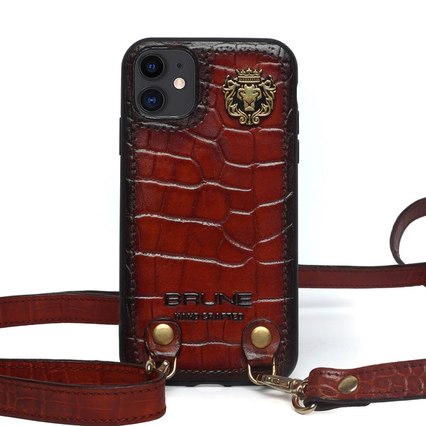 Cognac Croco Textured Leather Adjustable Strap Mobile Cover by Brune & Bareskin