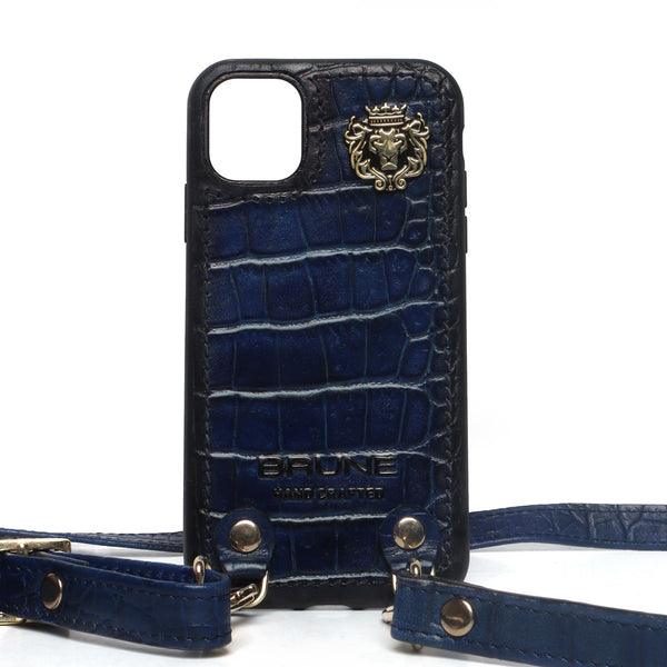 Blue Croco Textured Leather Adjustable Strap Mobile Cover by Brune & Bareskin