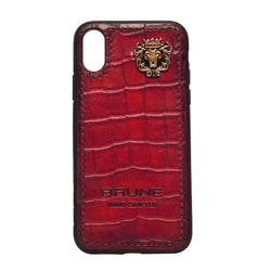 Wine Croco Textured Leather Stitched Corner Mobile Cover by Brune & Bareskin
