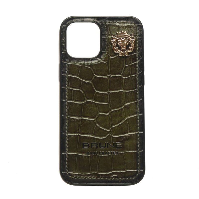 Green Croco Textured Leather Stitched Corner Mobile Cover by Brune & Bareskin