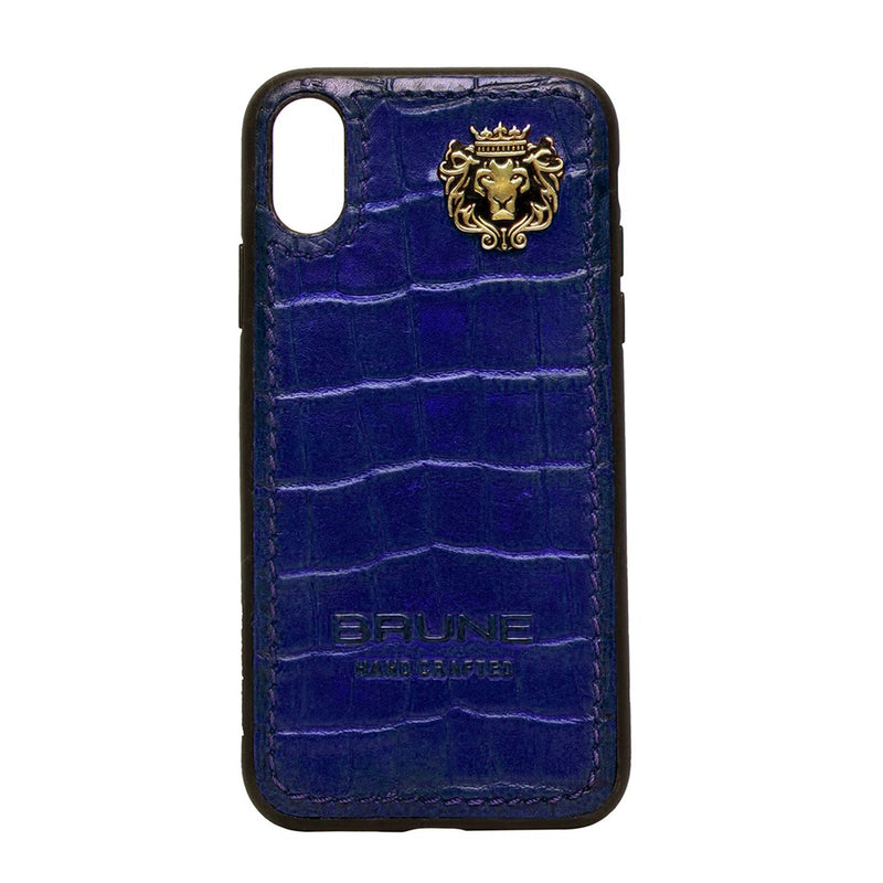 Blue Croco Textured Leather Stitched Corner Mobile Cover by Brune & Bareskin