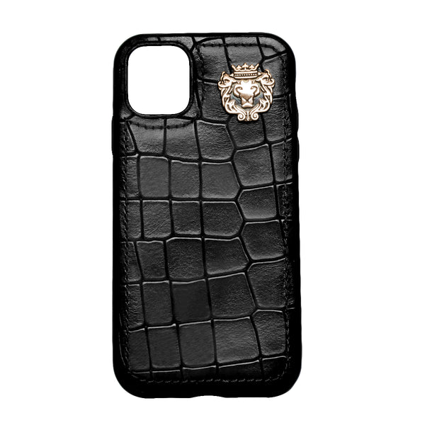 Black Deep Cut Croco Textured Leather Mobile Cover by Brune & Bareskin