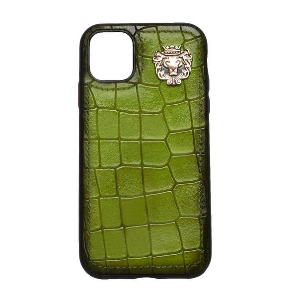 Olive Deep Cut Croco Textured Leather Mobile Cover by Brune & Bareskin