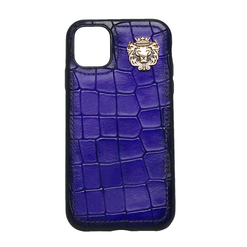 Purple Deep Cut Croco Textured Leather Mobile Cover by Brune & Bareskin