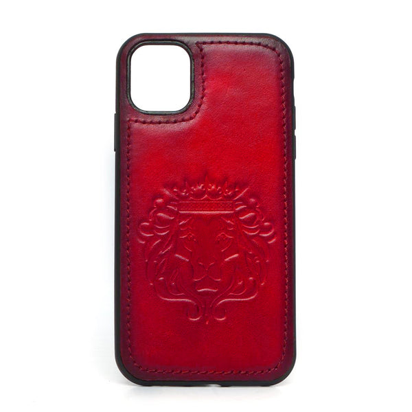 Red Leather Lion Embossed Mobile Cover by BARESKIN