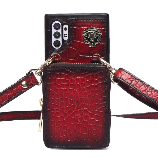 Zip Pocket Wine Croco Textured Leather Adjustable Strap Mobile Cover by Brune & Bareskin