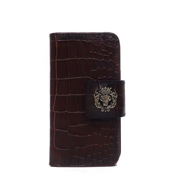 Brown Croco Textured Leather Flip Case Mobile Cover by Brune & Bareskin
