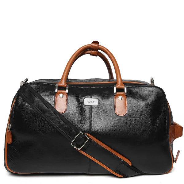 Brune Black-Tan Check-In Luggage Bag