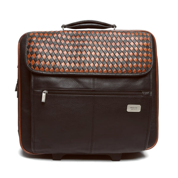 Orange/Brown Weaved Leather Flap Strolley Bag By Brune