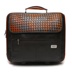 Brune Woven Flap Cabin Friendly Strolley Bag In Brown Leather