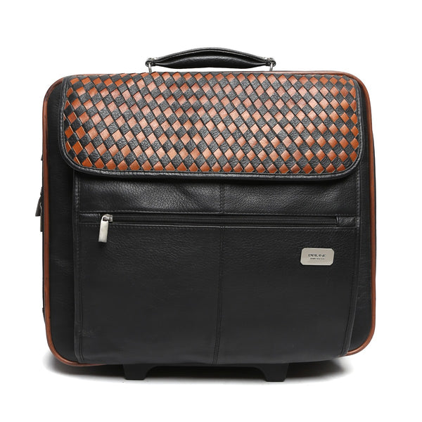 Orange/Black Weaved Leather Flap Strolley Bag By Brune