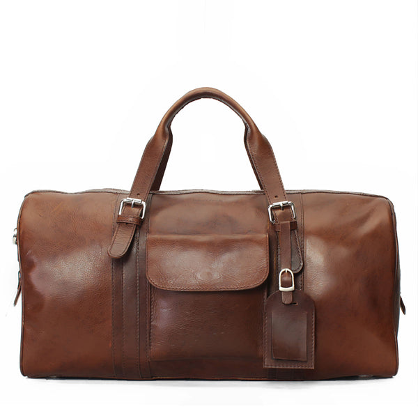 Distressed Look Full Grain Leather Unisex Duffle Bag by BRUNE