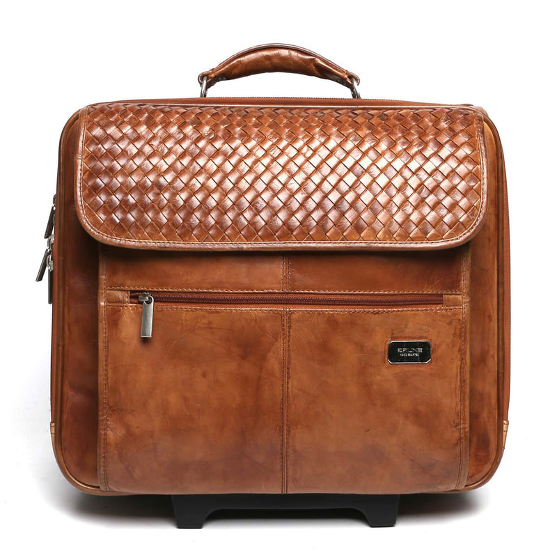 Brune Weaved Tan Leather Luggage Cabin Strolley Bag
