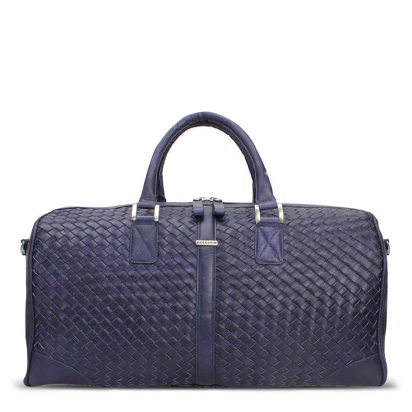 Brune Blue Woven Detailed Duffle Bag