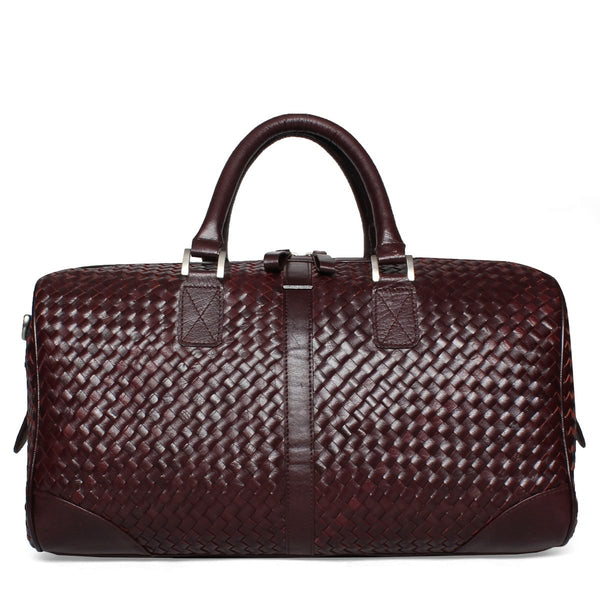 Bareskin Burgundy Woven detailed duffle bag