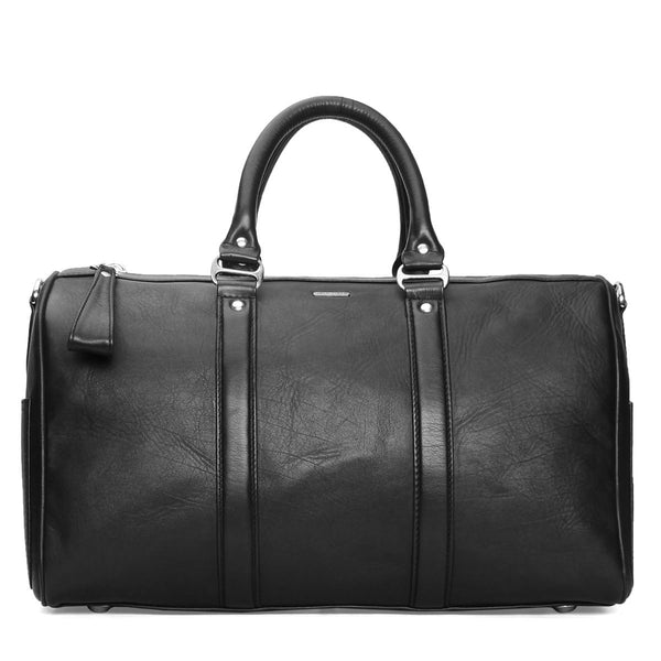 Bareskin Black Leather Gym / Duffle Bag with extra large zippers/pullers
