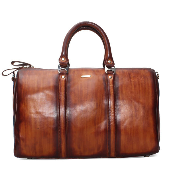 Brune Veg Tanned Leather Tan Hand Painted Duffle Bag