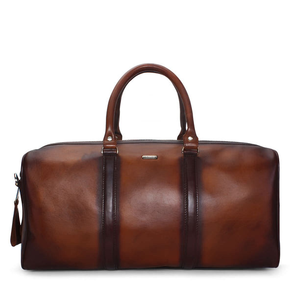 Brune Veg Tanned Burnished Leather Duffle/Gym Bag