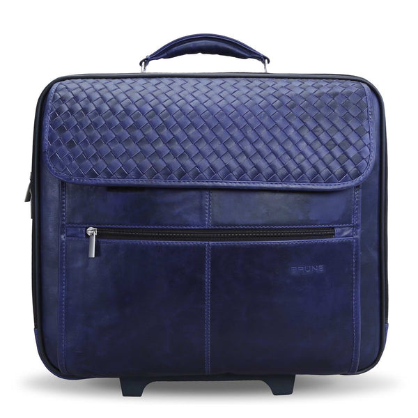 Brune Ink Blue Coloured Woven Detail Strolley Bag