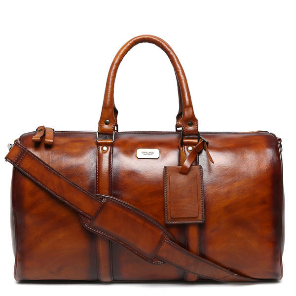 Brune Dark Brown Veg Tanned / Hand Painted Leather Duffle Bag