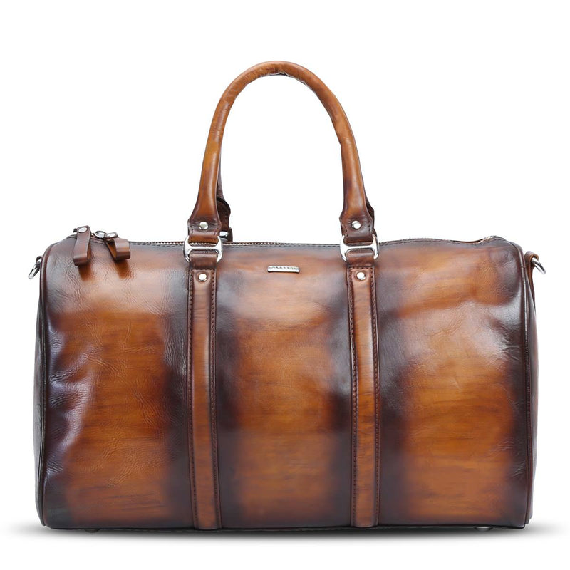 Brune Veg Tanned / Hand Painted Leather Small Duffle Bag