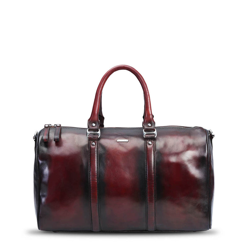 Brune wine hand painted leather duffle bag