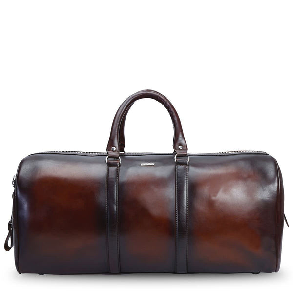 Brune Wine Hand Painted Leather Large Duffle Bag
