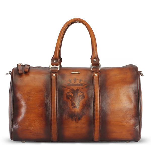 Bareskin Lion King Veg tanned / hand painted leather duffle bag