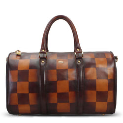 Brune Veg Tanned / Check Hand Painted Leather Duffle