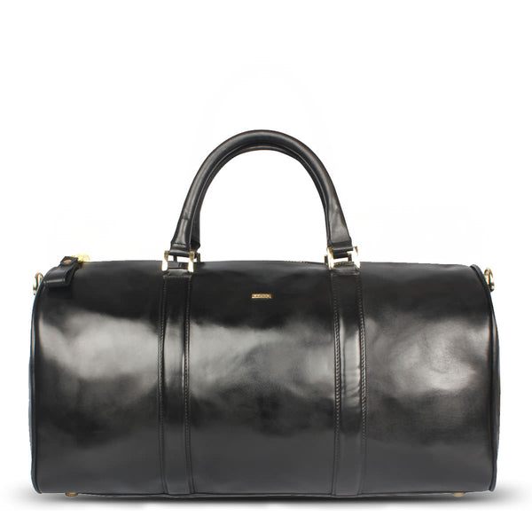 Brune Veg Tanned Black Hand Polished Leather Duffle Bag