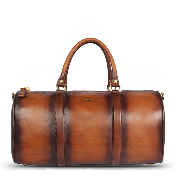 Brune Veg Tanned Hand Painted Duffle With Golden Accent